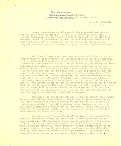 Beatrix Farrand to Mildred Bliss, September 23, 1942