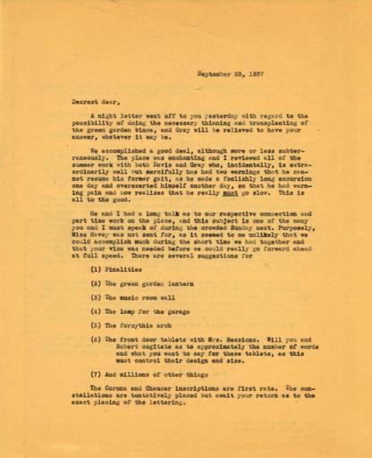 Beatrix Farrand to Mildred Bliss, September 28, 1937