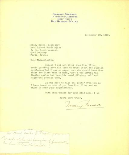 Beatrix Farrand to Mlle. Malye, September 20, 1929