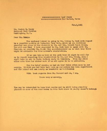 Beatrix Farrand to Newton B. Drury, November 3, 1941