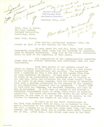 Beatrix Farrand to Paul J. Sachs, December 21, 1940