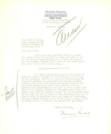 Beatrix Farrand to Paul J. Sachs, February 7, 1942