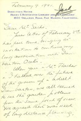 Beatrix Farrand to Paul J. Sachs, February 9, 1941