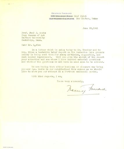 Beatrix Farrand to Paul J. Sachs, June 28, 1941