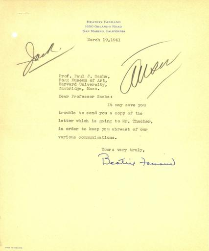 Beatrix Farrand to Paul J. Sachs, March 19, 1941