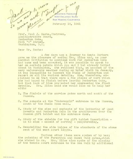 Beatrix Farrand to Paul Sachs, February 18, 1941