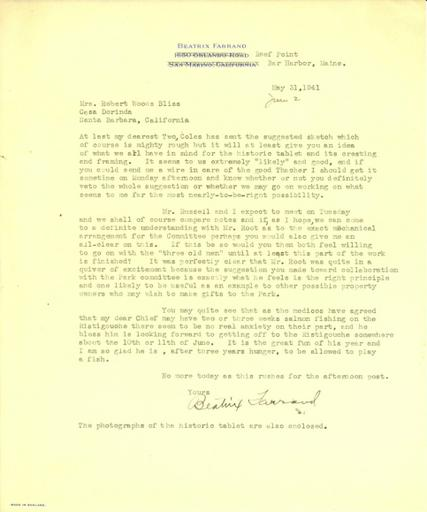 Beatrix Farrand to Robert and Mildred Bliss, May 31, 1941