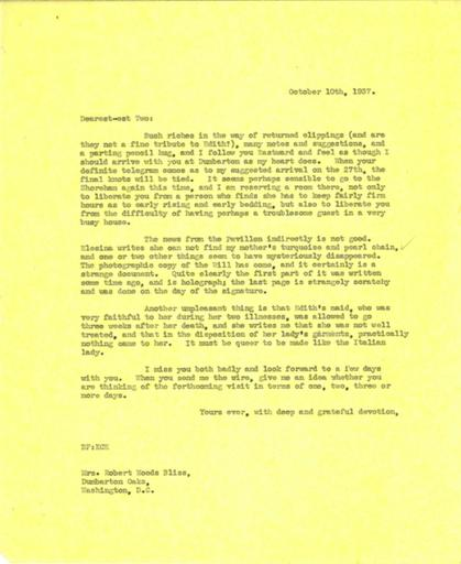 Beatrix Farrand to Robert and Mildred Bliss, October 10, 1937