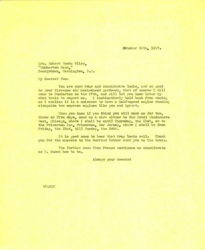 Beatrix Farrand to Robert and Mildred Bliss, October 16, 1937