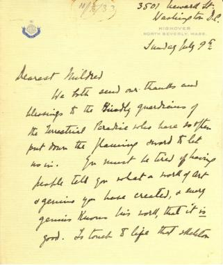Caroline Phillips to Mildred Bliss, July 9, 1933