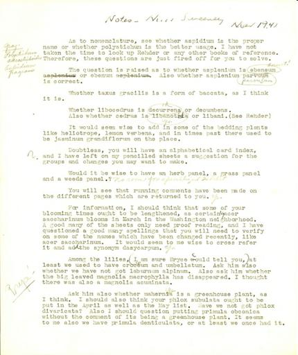 Catalogue House notes, March 1941