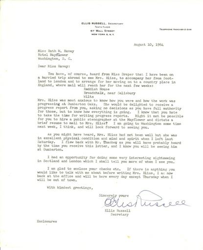 Ellis Russell to Ruth Havey, August 10, 1964