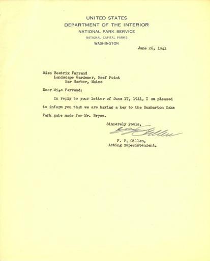 F. F. Gillen to Beatrix Farrand, June 26, 1941