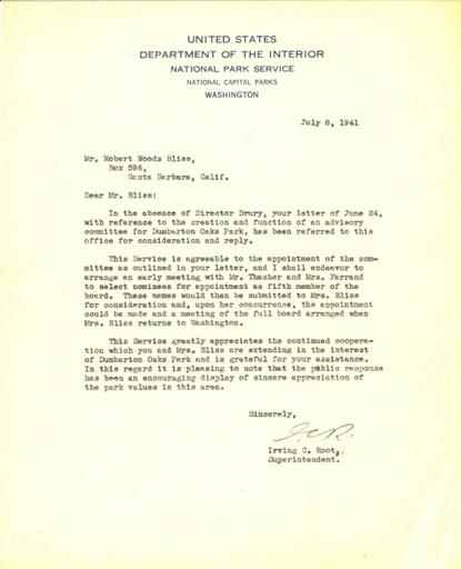 Irving C. Root to Robert Bliss, July 8, 1941