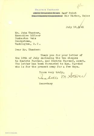 Isabelle M. Stover to John Thacher, July 19, 1941