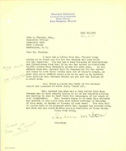 Isabelle M. Stover to John Thacher, July 22, 1941