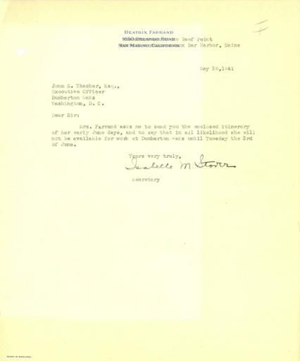 Isabelle Stover to John Thacher, May 26, 1941