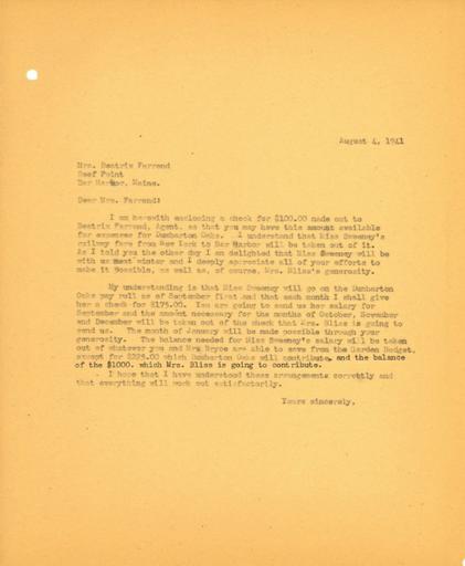 John Thacher to Beatrix Farrand, August 4, 1941
