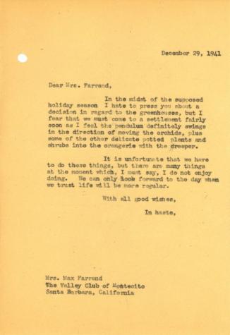 John Thacher to Beatrix Farrand, December 29, 1941