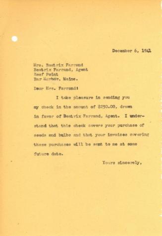 John Thacher to Beatrix Farrand, December 6, 1941