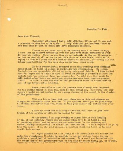 John Thacher to Beatrix Farrand, December 9, 1941