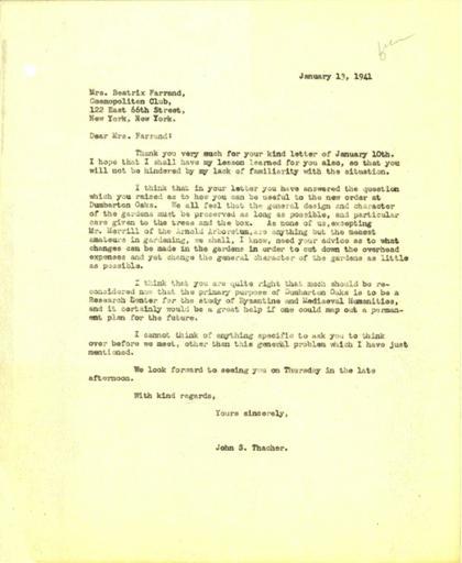 John Thacher to Beatrix Farrand, January 13, 1941