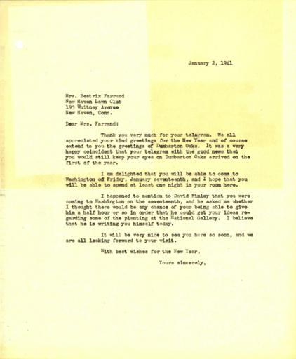 John Thacher to Beatrix Farrand, January 2, 1941