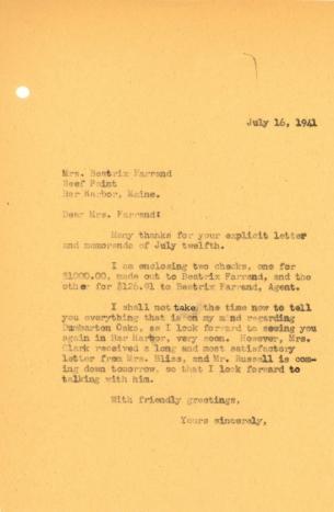 John Thacher to Beatrix Farrand, July 16, 1941