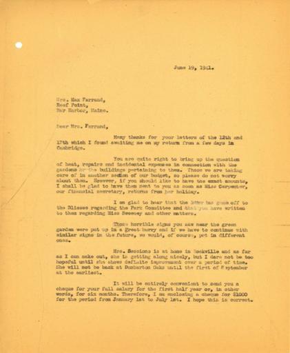 John Thacher to Beatrix Farrand, June 19, 1941