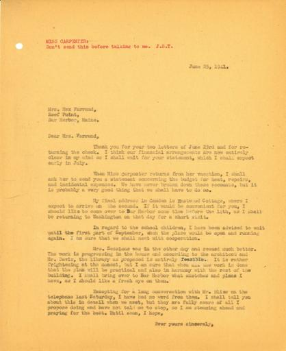 John Thacher to Beatrix Farrand, June 25, 1941