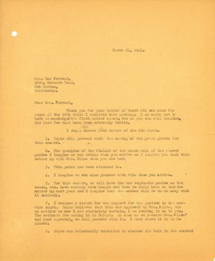 John Thacher to Beatrix Farrand, March 21, 1941