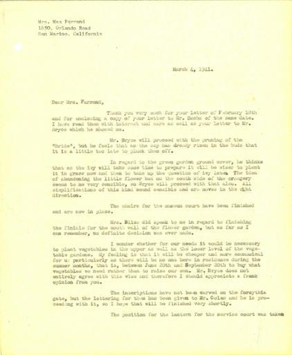 John Thacher to Beatrix Farrand, March, 4, 1941