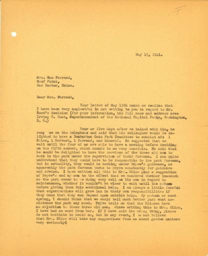 John Thacher to Beatrix Farrand, May 15, 1941