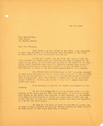 John Thacher to Beatrix Farrand, May 23, 1941