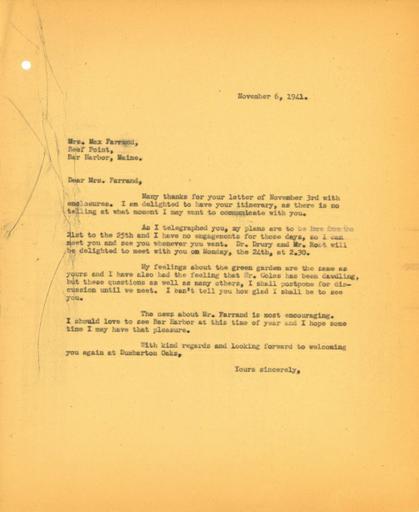 John Thacher to Beatrix Farrand, November 6, 1941