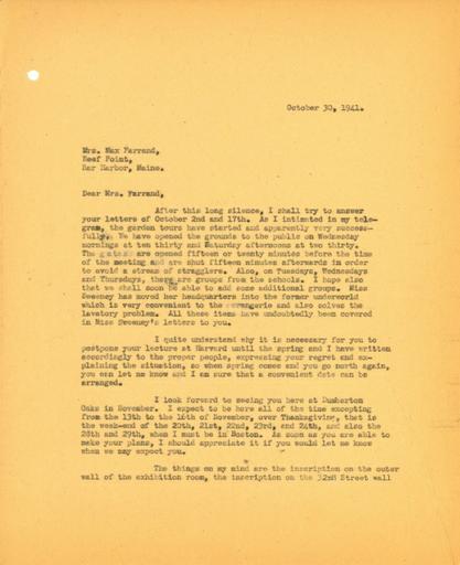 John Thacher to Beatrix Farrand, October 30, 1941