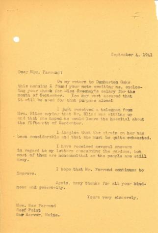 John Thacher to Beatrix Farrand, September 4, 1941