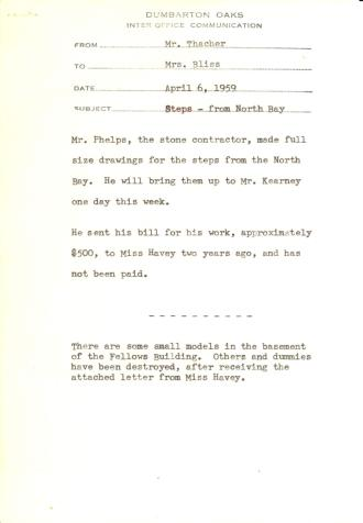 John Thacher to Mildred Bliss, April 6, 1959