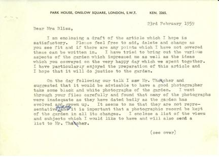 Lanning Roper to Mildred Bliss, February 23, 1959