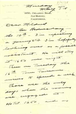 Max Farrand to Mildred Bliss, May 8, 1935