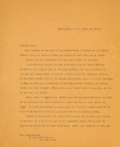 Mildred Bliss to Beatrix Farrand, April 16, 1923