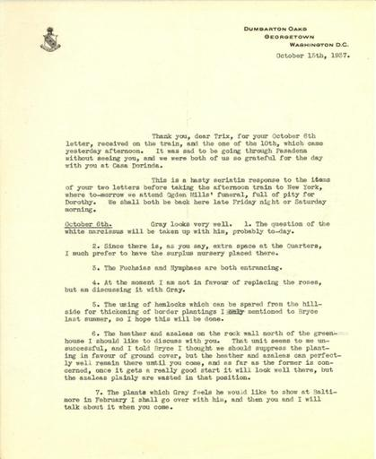 Mildred Bliss to Beatrix Farrand, October 13, 1937