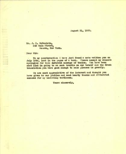 Mildred Bliss to Joseph H. McDaniels, August 21, 1933
