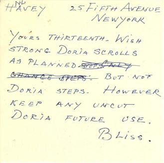 Mildred Bliss to Ruth Havey, 1959