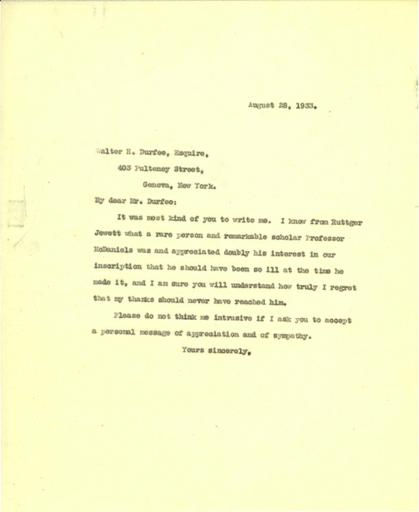 Mildred Bliss to Walter H. Durfee, August 28, 1933