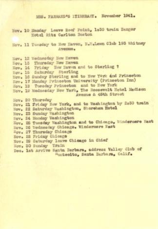 Mrs. Farrand's itinerary, November 1941