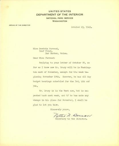 Nettie N. Benson to Beatrix Farrand, October 23, 1941