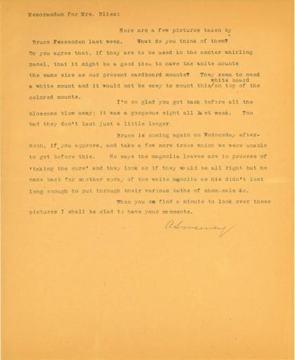 Note to Mildred Bliss from Anne Sweeney, 1937-1951