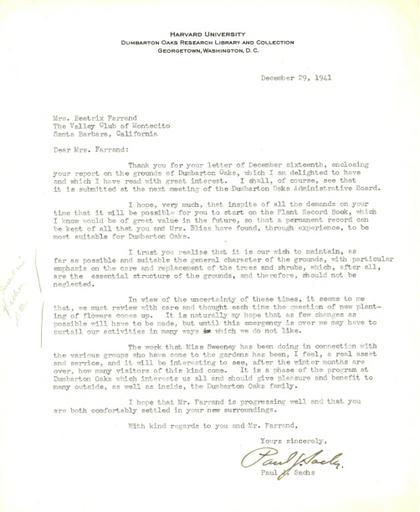 Paul J. Sachs to Beatrix Farrand, December 29, 1941