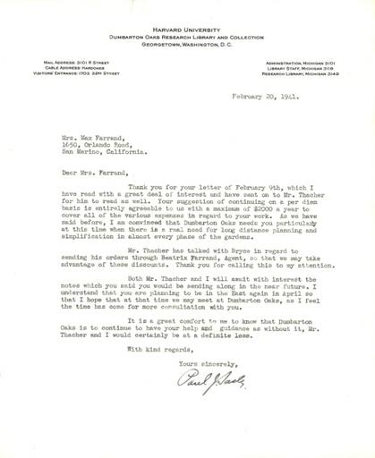 Paul J. Sachs to Beatrix Farrand, February 20, 1941